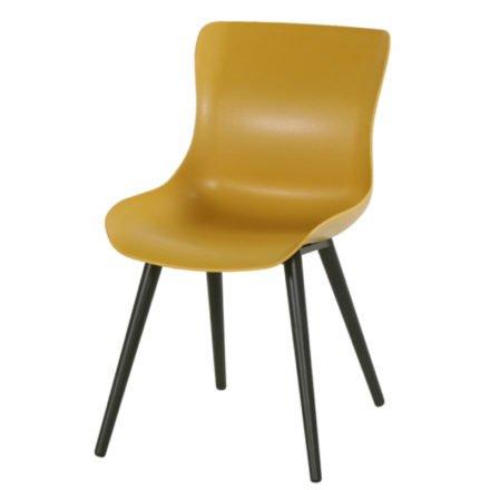 "Hartman ""Sophie Studio"" Dining Chair, Gestell Aluminium carbon black, Sitzschale curry yellow"