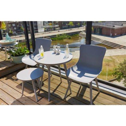 """Hartman """"Sophie Studio"""" Dining Chair, Gestell Aluminium misty grey, Sitzschale misty grey mit """" Sophie Studio"""" Bistrotisch und Beistelltisch, misty grey"""