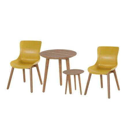 """Hartman """"Sophie"""" Dining Chair, Gestell Teakholz, Sitzschale Kunststoff curry yellow mit """"Sophie Studio"""" Bistrotisch und Beistelltisch, natural teak"""