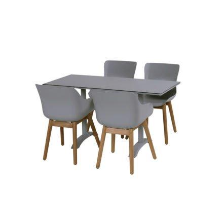 """Hartman """"Sophie"""" Dining Chair und Organic Chair, Gestell Teakholz, Sitzschale Kunststoff misty grey und """"Sophie"""" Bistrotisch, misty grey"""