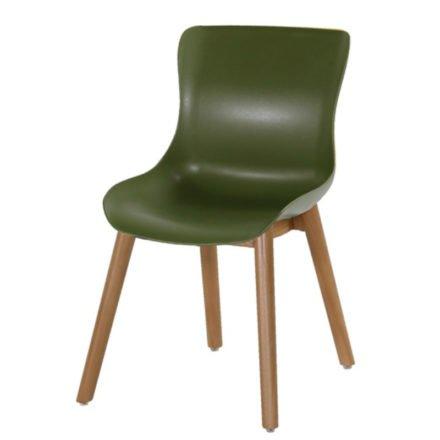 """Hartman """"Sophie"""" Dining Chair, Gestell Teakholz, Sitzschale Kunststoff moss green"""