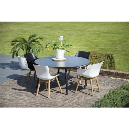 "Hartman ""Sophie"" Dining Chair, Armchair und Organic Chair, Gestell Teakholz, Sitzschale Kunststoff royal white"