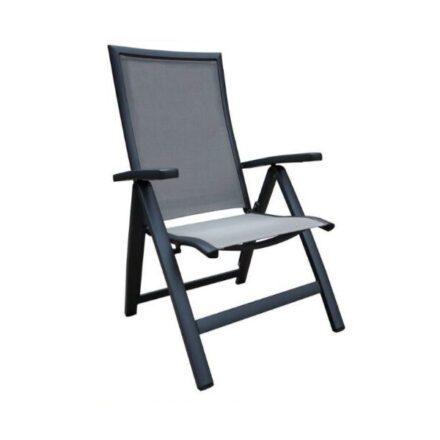 "Home Islands ""Yuri"" Klappsessel Gestell Aluminium charcoal, Sitz-und Rückenfläche Textilen silver black"