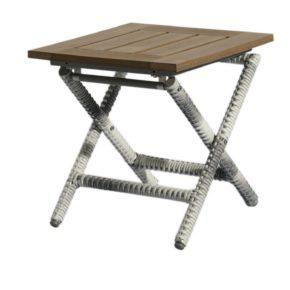 """Home Islands """"Hinata"""" Beistelltisch, Gestell Aluminium Polyrattan Geflecht Salt/Pepper mit weiß grauem Verlauf, Tischplatte Polywood"""