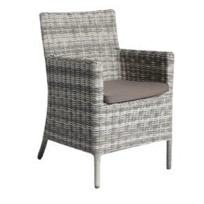 "Home Islands ""Kyoko"" Dining Chair, Gestell Aluminium, Polyrattan Geflecht Salt/Pepper weiß mit grauem Verlauf"