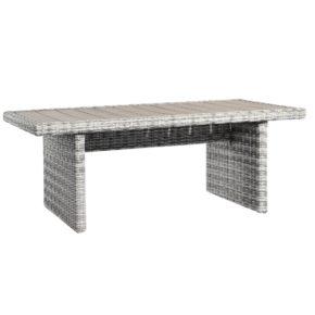 """Home Islands """"Phuket"""" Gartentisch, Gestell Aluminium ummantelt mit Polyrattan Salt/Pepper weiß mit grauem Verlauf, Tischplatte Polywood"""
