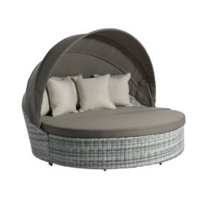 "Home Islands ""Kyoko"" Sonneninsel, Gestell Aluminium, Polyrattan salt & pepper, Kissen taupe und beige"