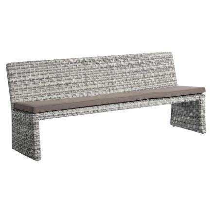 """Home Islands """"Phuket Gartenbank, Gestell Aluminium, Polyrattan Geflecht umwoben Farbe Salt/Pepper mit weiß grauem Verlauf, inklusive Sitzauflage grau"""