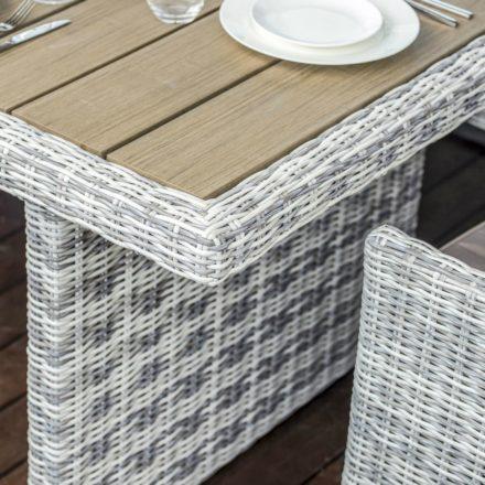 """Home Islands """"Himari"""" Gartentisch, Gestell Aluminium Polyrattan ummantelt Salt/Pepper weiß mit grauem Verlauf, Tischplatte Pollywood Teak Optik"""
