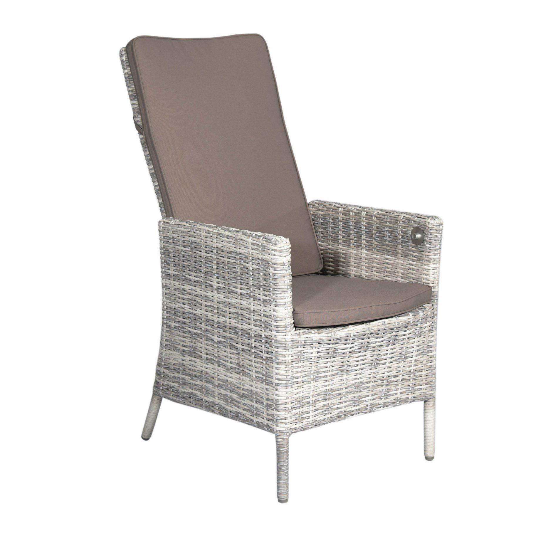 "Home Islands ""Phuket"" Relax Dining Chair, Gestell Aluminium,, Polyrattan Geflecht Salt/Pepper weiß mit grauem Verlauf"