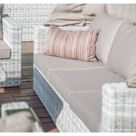 """Home Islands """"Kyoko"""" Sofa 3-sitzig mit Sonnendach, Gestell Aluminium, Polyratten Geflecht Salt/Pepper weiß mit grauem Verlauf"""