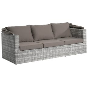 """Home Islands """"Mizuki"""" Sofa 3-sitzig mit Sonnendach, Gestell Aluminium, Polyratten Geflecht Salt/Pepper weiß mit grauem Verlauf"""