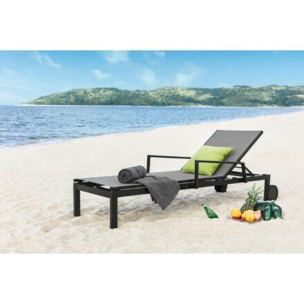 "Home Islands Sonnenliege ""Jamuna"", Gestell Aluminium charcoal, Textilgewebe silver black"