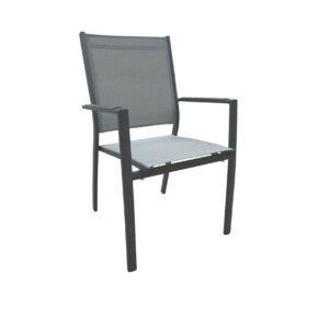"Home Islands Stapelsessel ""Yuri"", Gestell Aluminium charcoal (anthrazit), Sitz- und Rückenfläche Textilen silver black"