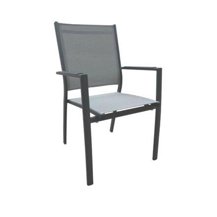 """Home Islands Stapelsessel """"Yuri"""", Gestell Aluminium charcoal, Sitz- und Rückenfläche Textilen silver black"""