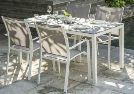 """Home Islands Gartenstuhl """"Kagami"""", Gestell Aluminium weiß, Textilgewebe latte"""