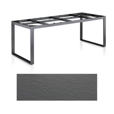 "Kettler Casual Dining Tisch ""Ocean Modular"", Gestell Aluminium anthrazit, Tischplatte Kettalux Plus anthrazit-grau (Schieferoptik), 220x95 cm"