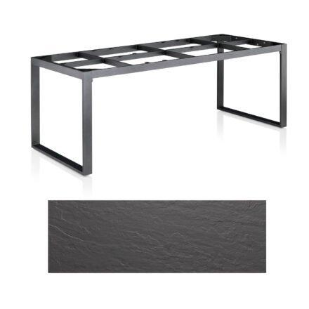 "Kettler Casual Dining Tisch ""Ocean Modular"", Gestell Aluminium anthrazit, Tischplatte Kettalux Plus anthrazit (Schieferoptik), 220x95 cm"