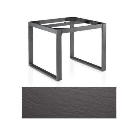 "Kettler Casual Dining Tisch ""Ocean Modular"", Gestell Aluminium anthrazit-grau, Tischplatte Kettalux Plus anthrazit Schieferoptik, 95x95 cm"