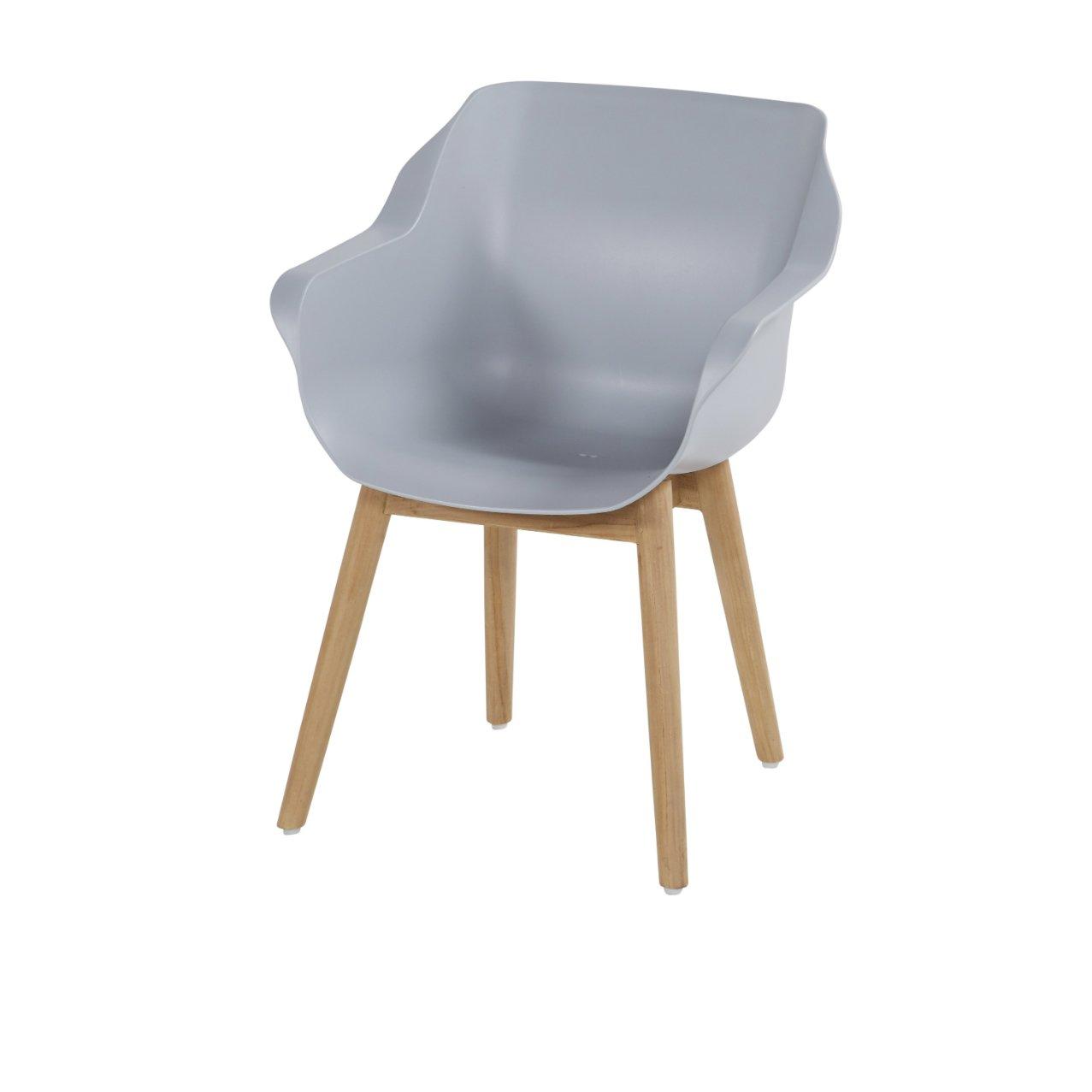 """Hartman """"Sophie Studio"""" Gartenstuhl, Gestell Teakholz, Sitzfläche Kunststoff misty grey"""