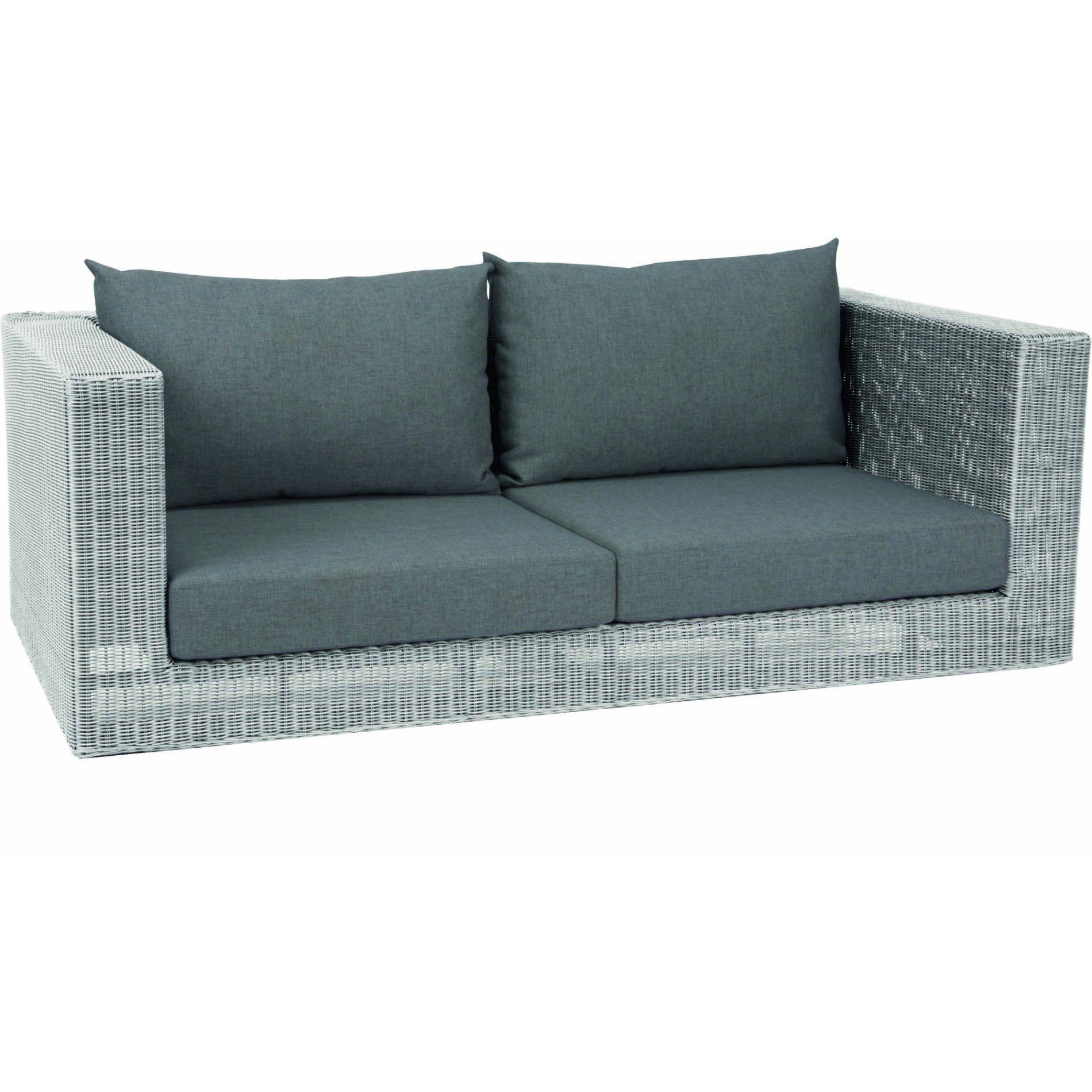 "Stern 2-Sitzer Sofa ""Fontana"", Geflecht Polyrattan Vintage weiß, Kissen seidengrau"