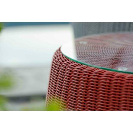 "Stern Beistelltisch ""Anny"", Gestell Aluminium, Geflecht rot, inkl. Glasplatte"