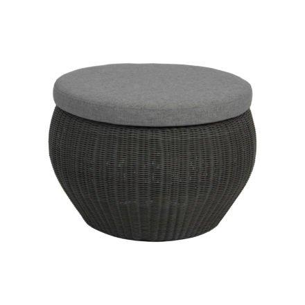 """Stern Beistelltisch/Hocker """"Anny"""", Gestell Aluminium, Geflecht basaltgrau, Kissen seidengrau"""