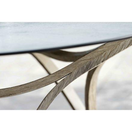 "Stern Gartentisch ""Curve"", Gestell Teak Patina grau, Tischplatte HPL Smoky"