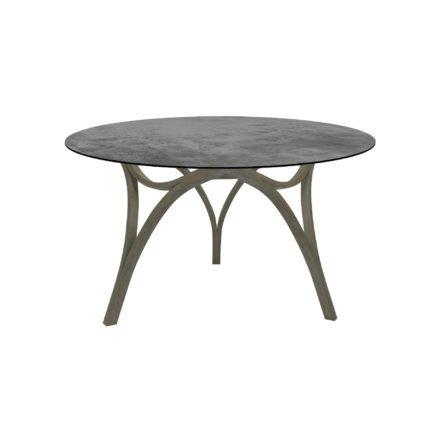 """Stern Gartentisch """"Curve"""", Gestell Teak Patina grau, Tischplatte HPL Zement"""