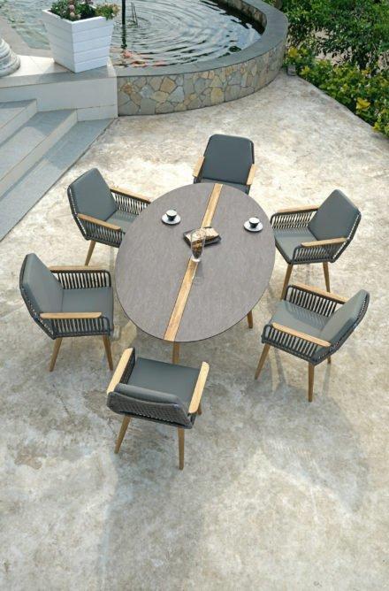 """Zebra """"Flix"""" Gartentisch, Gestell Teakholz recycelt, Tischplatte HPL Slate Grey mit Einlage aus recyceltem Teakholz und Dining Sessel"""
