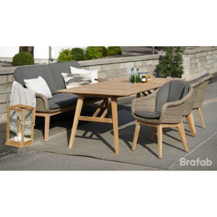 """Brafab """"Beverly"""" Dining-Set, Gestell Teakholz, Sitz- und Rückenfläche Polyrattan braun, Tischplatte Teakholz"""