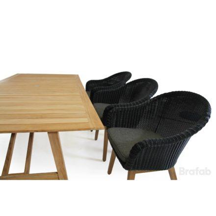 """Brafab """"Beverly"""" Dining-Set, Gestell Teakholz, Sitz- und Rückenfläche Polyrattan schwarz, Tischplatte Teakholz"""