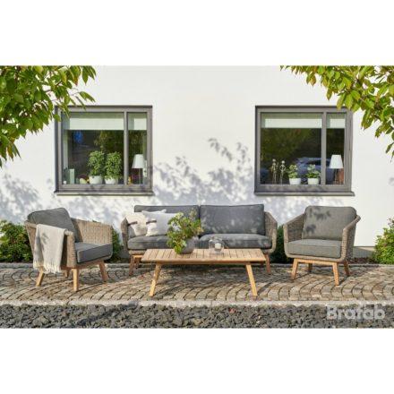 """Brafab """"Boxford"""" 2,5-Sitzer Sofa, Gestell Teakholz, Sitz- und Rückenfläche Polyrattan beige, Sitz- und Rückenkissen Olefin taupe"""
