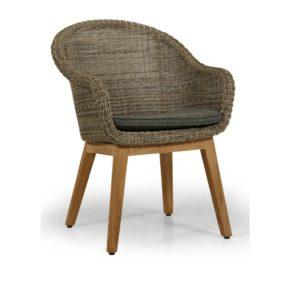 """Brafab """"Beverly"""" Diningsessel, Gestell Teakholz, Sitz-und Rückenfläche Polyrattan rustic (beige), Sitzkissen grau"""