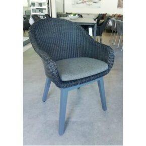 """Brafab Diningsessel """"Beverly"""", Gestell Aluminium anthrazit, Sitz-und Rückenfläche Polyrattan schwarz, Sitzkissen grau"""