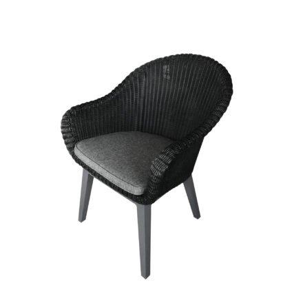 "Brafab Diningsessel ""Beverly"", Gestell Aluminium anthrazit, Polyrattan schwarz, Sitzkissen grau"