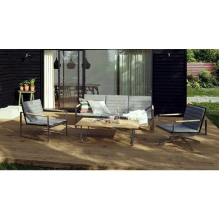 """Brafab """"Gotland"""" 3-Sitzer Sofa, Gestell Edelstahl, Sitz-und Rückenfläche Textilene schwarz"""