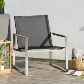 """Brafab """"Gotland"""" Loungesessel, Gestell Edelstahl, Sitz-und Rückenfläche Textilgewebe schwarz, ohne Polster"""