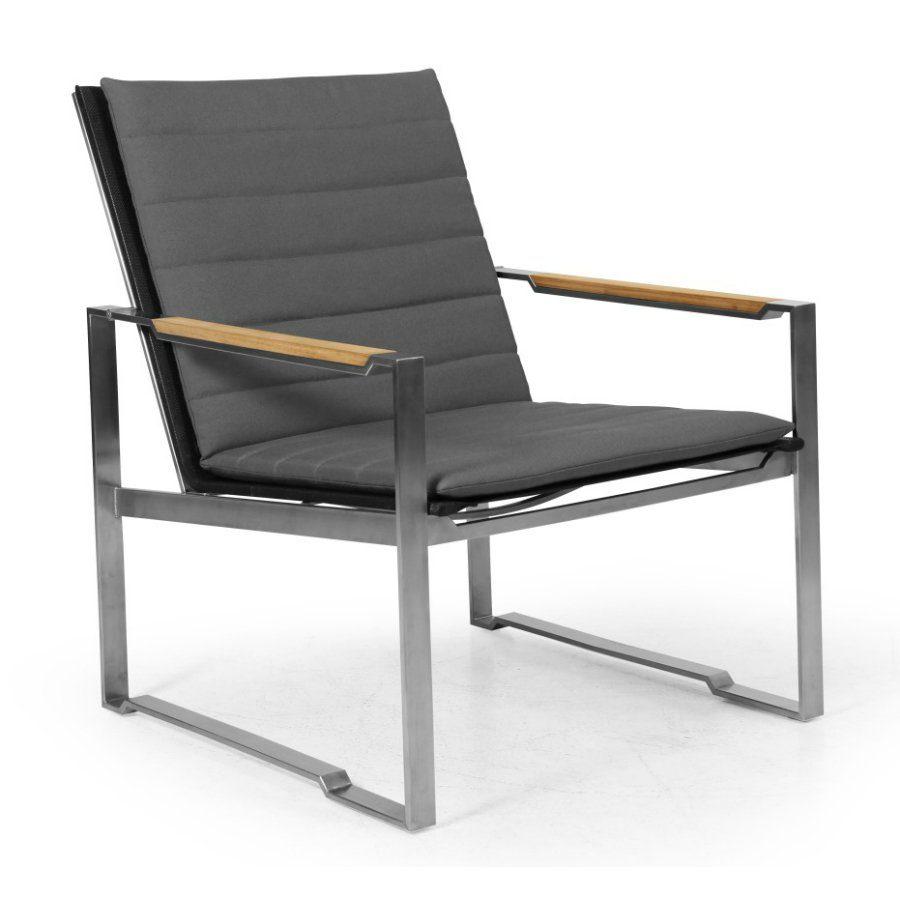 """Brafab """"Gotland"""" Loungesessel, Gestell Edelstahl, Sitz-und Rückenfläche Textilgewebe schwarz, mit Polster"""