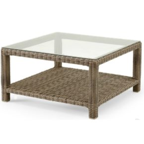 "Brafab ""Ninja"" Loungetisch quadratisch, Gestell Aluminium, Polyrattan Geflecht halbrund rustikal, Tischplatte Glas klar"