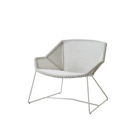 """Loungesessel """"Breeze"""" von Cane-line, Stahlgestell weiß, Polyrattan-Geflecht weiß-grau"""