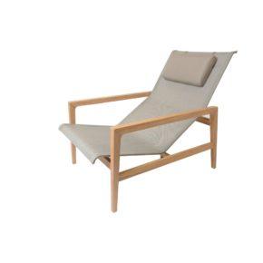 "Fischer Möbel ""Barcelona"" Lounge Sessel, Teakholz mit Textilgewebe cappuccino"