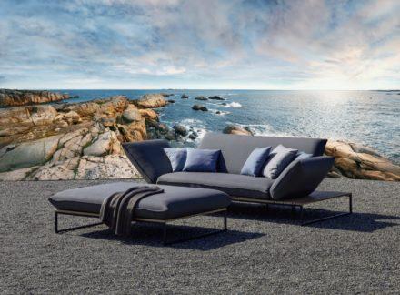 """Fischer Möbel Lounge """"Flora"""", Sofa Mittelposition mit 2 Seitenteilen hoch und Polsterbank groß"""