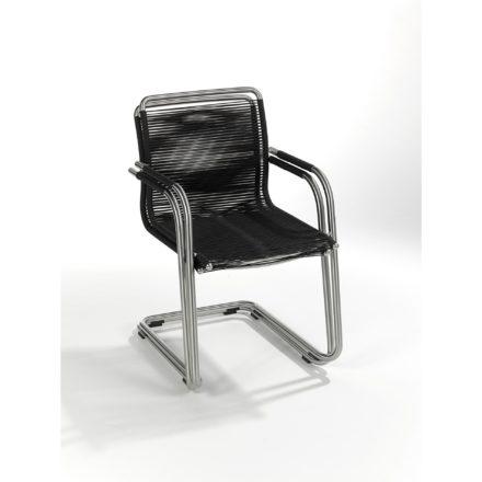 """fiFischer Möbel Freischwinger """"Swing"""", Edelstahl geschliffen, Ausführung fm-rope schwarz, gestapeltscher-moebel-swing-freischwinger-fm-rope-schwarz-gestapelt"""