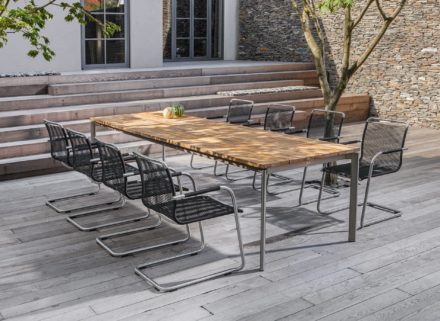 """Fischer Möbel """"Swing"""" Tisch mit Teaktischplatte 1316-12 mit Freischwinger, Ausführung fm-rope schwarz"""