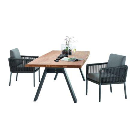 "Solpuri ""Club"" Dining Sessel, Aluminium und String-Flex anthrazit mit Tisch ""Timber"", Aluminiumgestell und Teakholz"
