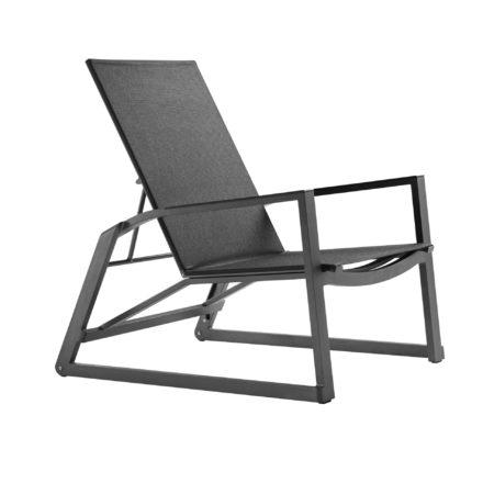 "Solpuri ""Foxx"" Deck Chair, Aluminiumgestell anthrazit, Textilgewebe coal, Armlehne Aluminium"