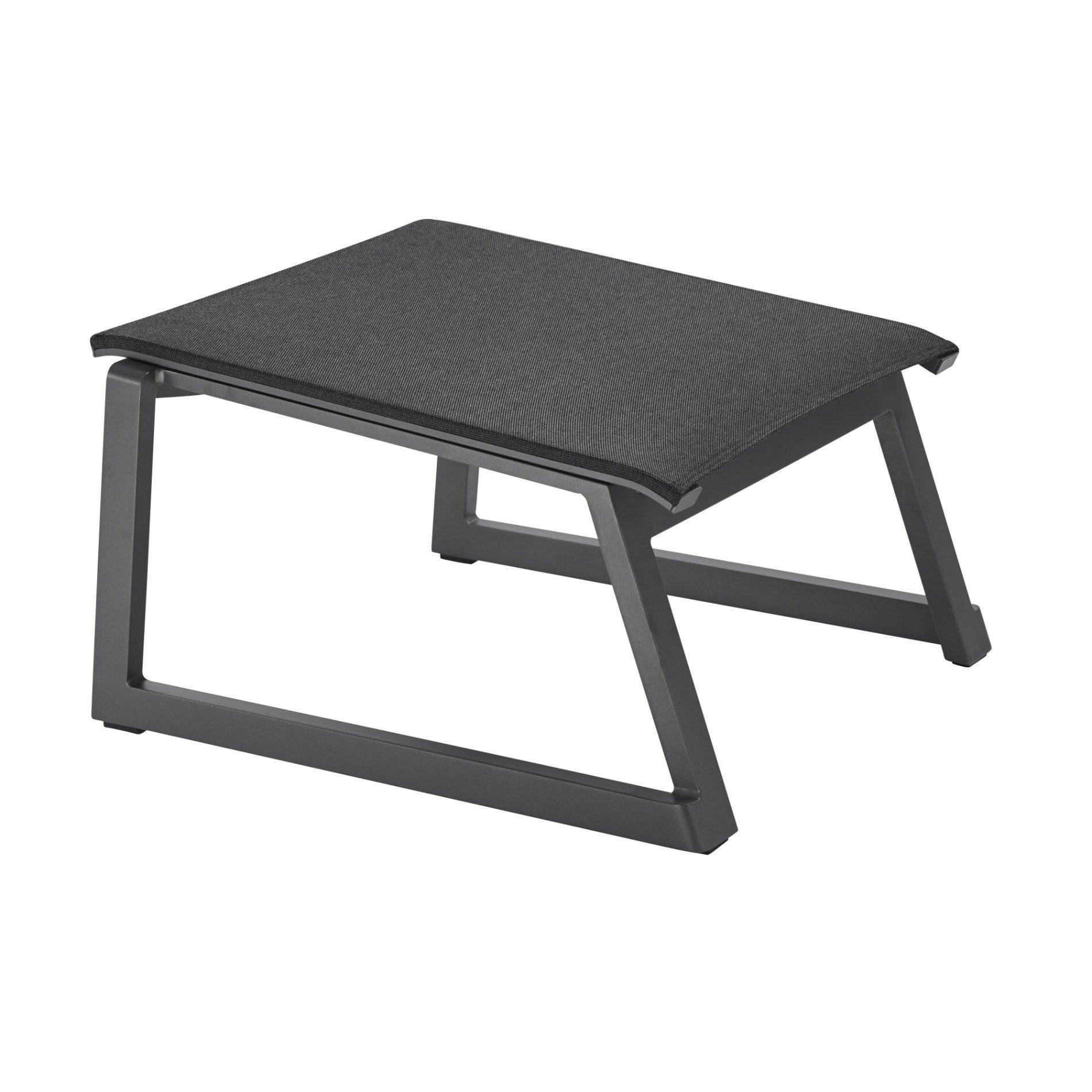 """Solpuri """"Foxx"""" Hocker zu Deck Chair, Aluminiumgestell anthrazit, Textilgewebe coal"""