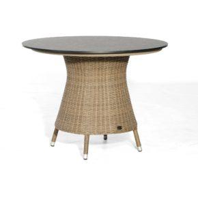 """SonnenPartner Tisch """"Base-Polyrattan"""", Ausführung rustic-stream, mit Tischplatte in Keramikoptik Ø 100 cm"""