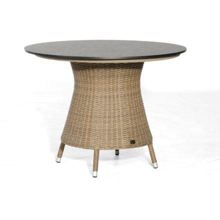 """SonnenPartner Tisch """"Base-Polyrattan, Ø 90 cm, Ausführung rustic-stream, mit Tischplatte in Keramikoptik"""